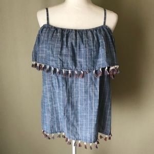 Listicle Chambray Layered Fringe Off-Shoulder Top
